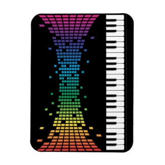 Music piano instrumental keyboard multicolored rectangle magnet