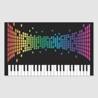 Music piano instrumental keyboard multicolored rectangular sticker