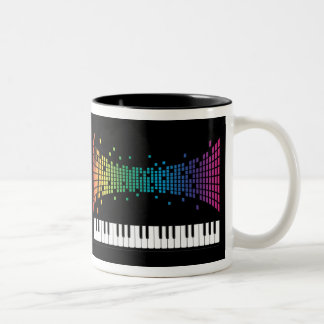 Music piano instrumental keyboard multicolored Two-Tone coffee mug