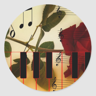 Music Piano Keys Notes Teacher Roses Instruments Classic Round Sticker