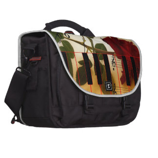 Music Piano Keys Notes Teacher Roses Instruments Laptop Commuter Bag