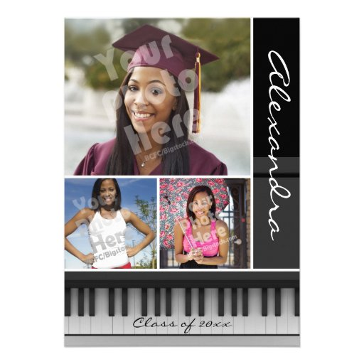Music Piano Keys, Photo Graduation Cards (front side)