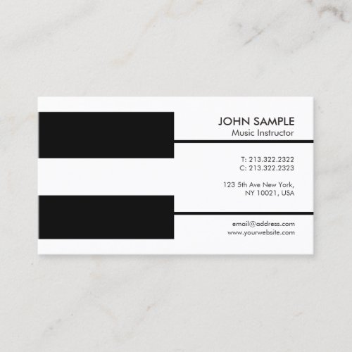 Music Piano Lessons Professional Teacher Business Card
