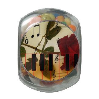 Music Piano Red Rose Destiny Glass Candy Jar