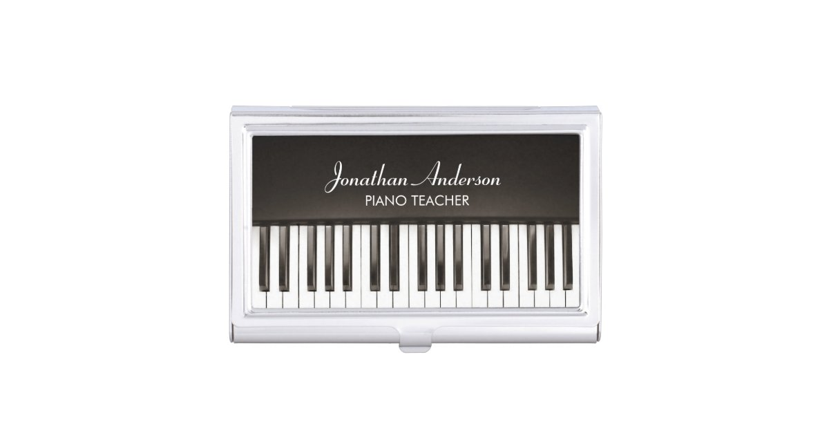 Music Piano Teacher Business Card Holder | Zazzle.com