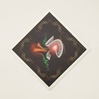 Music, piano with leaves and floral elements standard luncheon napkin