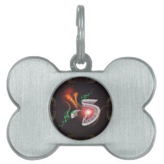 Music, piano with leaves and floral elements pet ID tag
