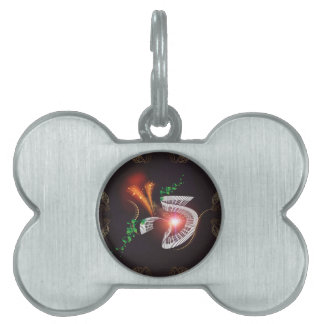 Music, piano with leaves and floral elements pet name tag