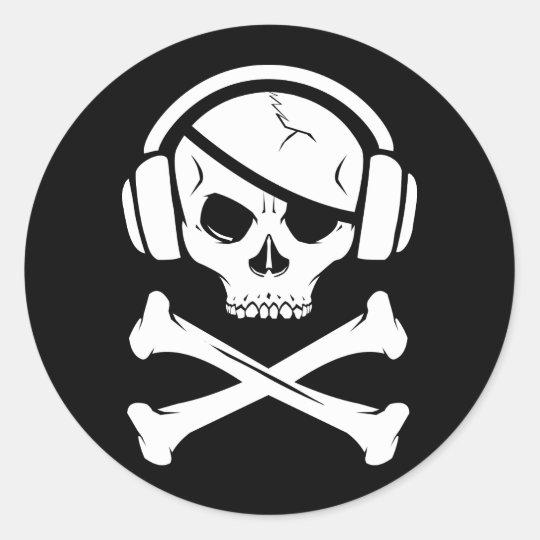 Music Pirate Piracy anti-riaa logo Classic Round Sticker