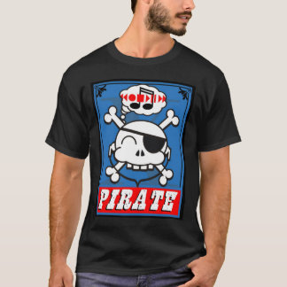 music pirate skully in blue T-Shirt