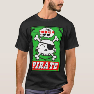 music pirate skully in green T-Shirt