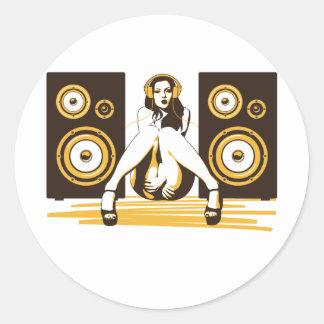 Music Please Classic Round Sticker
