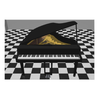 Music Poster: Grand Piano & Tiles: 3D Model Poster