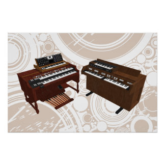 Music Poster: Vintage Keyboards: 3D Model