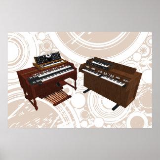 Music Poster: Vintage Keyboards: 3D Model Poster