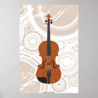 Music Poster: Violin 3D Model & Circles Poster