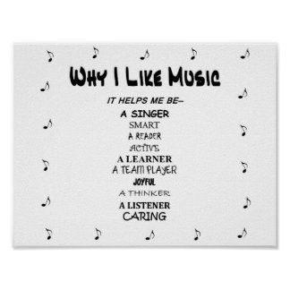 "Music Poster ""Why I Like Music"" Fun Lettering"