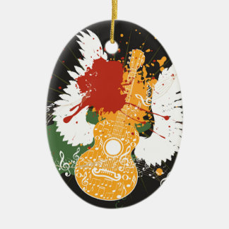 Music Poster with Guitar 2 Ceramic Ornament