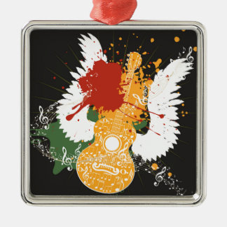 Music Poster with Guitar 2 Metal Ornament