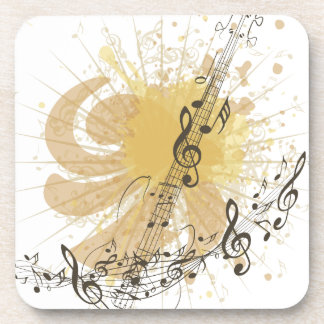 Music Poster with Guitar 3 Drink Coaster