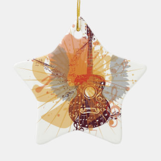 Music Poster with Guitar 4 Ceramic Ornament
