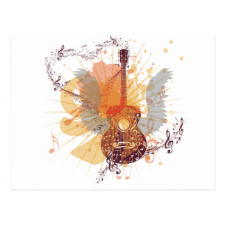 Music Poster with Guitar 4 Postcard