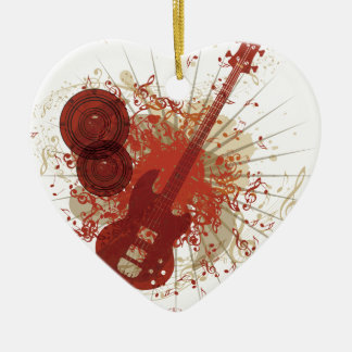 Music Poster with Guitar 5 Ceramic Ornament