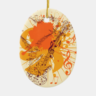 Music Poster with Guitar Ceramic Ornament