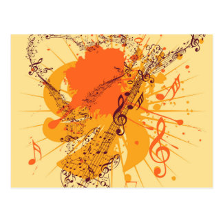 Music Poster with Guitar Postcard