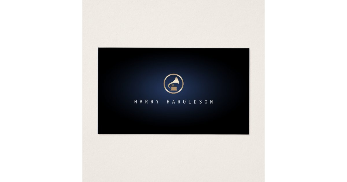 Music Producer Gramophone Icon Blue Glow Music Business Card ...