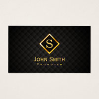 Music Promoter Gold Diamond Monogram Business Card
