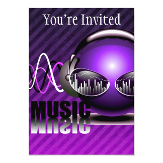 "Music Pumping In My Ears 5"" X 7"" Invitation Card"