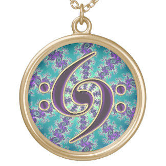 Music Purple Bass Clef on Blue Fractal Necklace