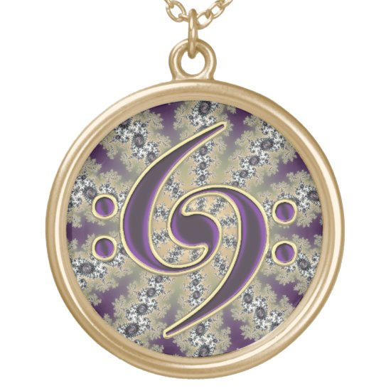 Music Purple Bass Clef on Gold Fractal Necklace