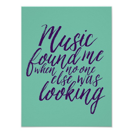 Music quote hand lettering calligraphy blue poster zazzle