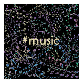 #Music Rainbow Musical Notes Poster