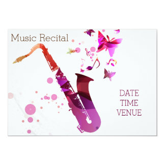 Music recital cute saxophone concert performance card