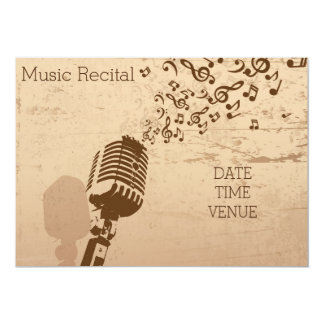 Music recital retro vintage vocal performance 5x7 paper invitation card