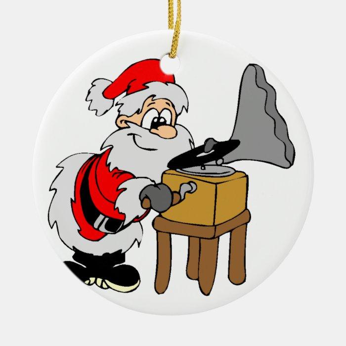 Music Record Player Santa Ceramic Ornament