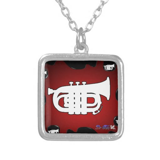 MUSIC  RED BACKGROUND PRODUCTS SQUARE PENDANT NECKLACE