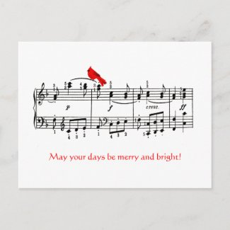 Music & Red Bird Christmas Postcard