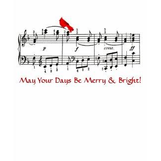 Music & Red Bird Christmas T-Shirt shirt