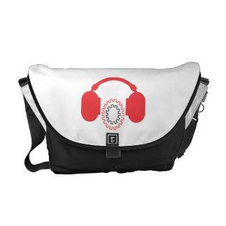 Music Red Headphones Rickshaw Messenger Bag