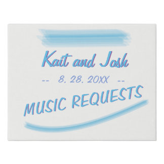 Music Requests Sign Minimalist Soft Ambiance Blue