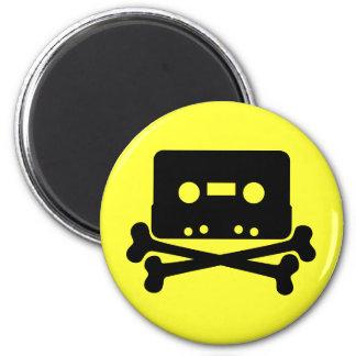 Music - Retro Cassette & Cross Bones 2 Inch Round Magnet
