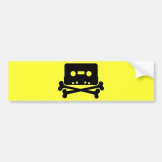 Music - Retro Cassette & Cross Bones Bumper Sticker