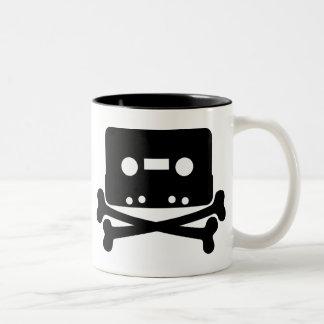 Music - Retro Cassette & Cross Bones Two-Tone Coffee Mug