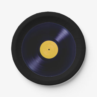 Music retro old style vinyl disc plates