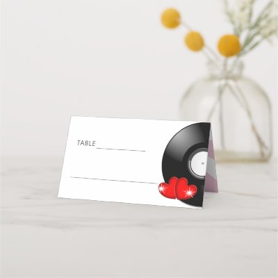 Music Retro Vinyl Record Wedding Fun Place Card