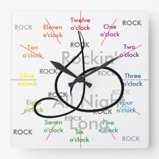 Music Rock N Roll Musicians Gift CricketDiane Square Wall Clock